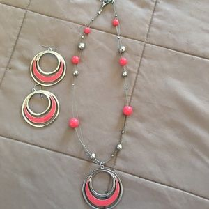 Jewelry - Pretty coral and silver necklace and earrings set!